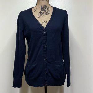 L.L. Bean Cotton Cashmere Black Full Button Cardi